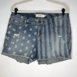 Torrid Stars and Stripes Denim Shorts Sz 14